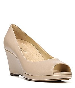 Image of Naturalizer Olivia Leather Peep Toe Platform Wedge Pumps