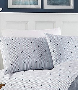 Image of Nautica Audley Nautical Striped Percale Sheet Set