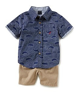 Image of Nautica Baby Boys 12-24 Months Short-Sleeve Printed Poplin Shirt & Solid Twill Shorts