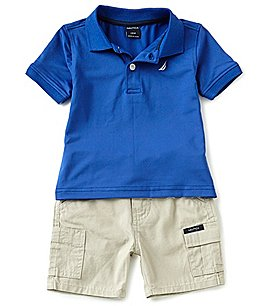 Image of Nautica Baby Boys 12-24 Months Solid Short-Sleeve Polo Shirt & Cargo Shorts Set