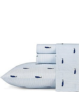 Image of Nautica Whale Stripe Percale Sheet Set