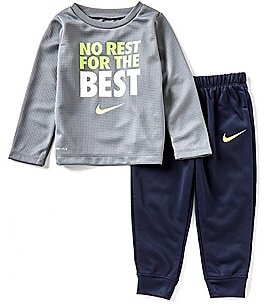 Image of Nike Baby Boys 12-24 Months Dri-FIT Thermal No Rest For The Best Tee & Pant Set