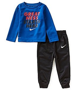 Image of Nike Baby Boys 12-24 Months Dri-FIT Thermal Tee & Therma Fleece Pant Set