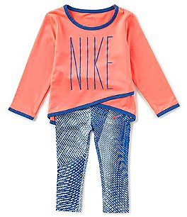 Image of Nike Baby Girls 12-24 DriFit Sport Essentials Crossover Tunic & Printed Legging Set