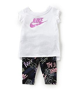 Image of Nike Baby Girls 12-24 Months Short-Sleeve Tunic Top & Printed Leggings Set