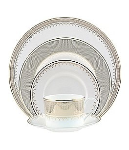 Image of Nikko Lattice Gold Scalloped Bone China 5-Piece Place Setting