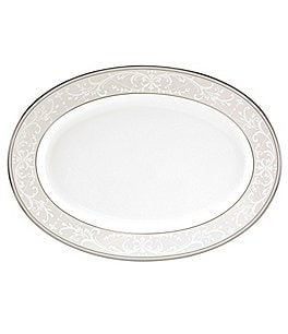 "Image of Nikko Pearl Symphony Scroll Bone China 14"" Oval Platter"