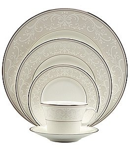 Image of Nikko Pearl Symphony Scroll Bone China 5-Piece Place Setting