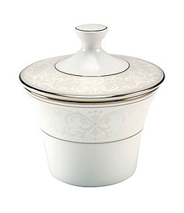 Image of Nikko Pearl Symphony Scroll Bone China Sugar Bowl with Lid