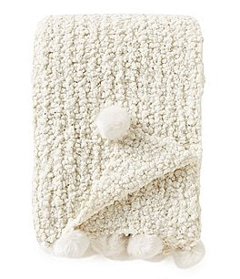 Image of Noble Excellence Frosted Lux Collection Harmony Cheniile Throw with Faux-Fur Poms