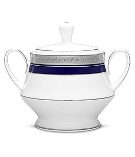 Image of Noritake Crestwood Cobalt Etched Platinum Porcelain Sugar Bowl with Lid