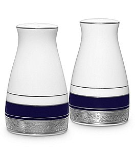 Image of Noritake Crestwood Cobalt Platinum Porcelain Salt & Pepper Shaker Set