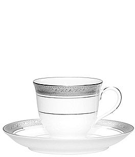 Image of Noritake Crestwood Etched Platinum Porcelain After Dinner Cup & Saucer Set