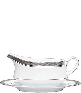 Image of Noritake Crestwood Etched Platinum Porcelain Gravy Boat with Stand