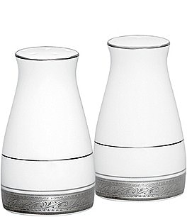 Image of Noritake Crestwood Etched Platinum Porcelain Salt & Pepper Shaker Set