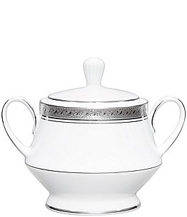 Image of Noritake Crestwood Etched Platinum Porcelain Sugar Bowl with Lid