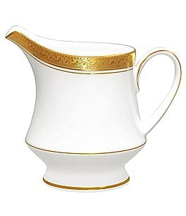 Image of Noritake Crestwood Gold Embossed and Leaf Bone China Creamer