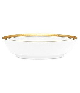 Image of Noritake Crestwood Gold Embossed and Leaf Bone China Oval Vegetable Bowl