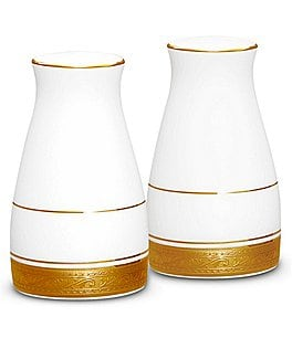 Image of Noritake Crestwood Gold Embossed and Leaf Bone China Salt & Pepper