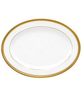 Image of Noritake Crestwood Gold Embossed Scroll & Leaf Bone China Oval Platter