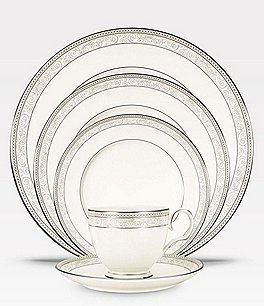 Image of Noritake Meridian Cirque Filigree Platinum 5-Piece Place Setting
