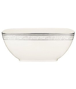 Image of Noritake Meridian Cirque Filigree Platinum Large Square Bowl