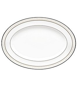 Image of Noritake Montvale Scroll Platinum Bone China Oval Platter