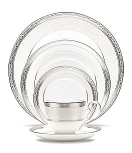 Image of Noritake Odessa Etched Platinum & Floral China 5-Piece Place Setting
