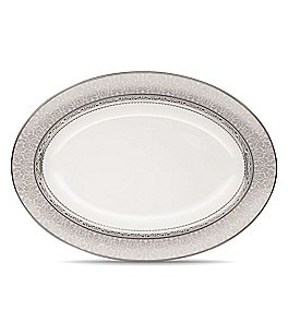 Image of Noritake Odessa Floral Etched Platinum Bone China Oval Platter