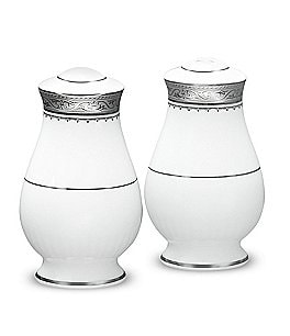 Image of Noritake Odessa Floral Platinum Bone China Salt & Pepper Shaker Set