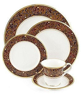 Image of Noritake Xavier Gold Paisley Bone China 5-Piece Place Setting