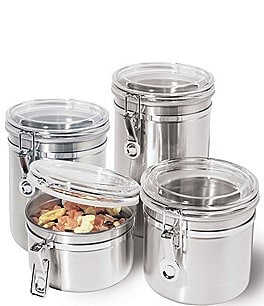 Image of Oggi 4-Piece Airtight Stainless Steel & Acrylic Canister Set