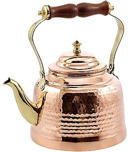 Image of Old Dutch Hammered Copper Tea Kettle with Brass Spout and Wood Handle