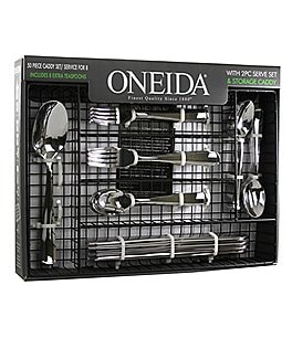 Image of Oneida Jonas 50-Piece Stainless Steel Flatware Set with Caddy