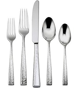 Image of Oneida Cabria Hammered 20-Piece Stainless Steel Flatware Set