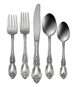 Image of Oneida Louisiana Floral Fiddleback 20-Piece Stainless Steel Flatware Set