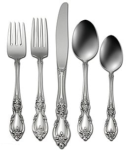 Image of Oneida Louisiana Floral Fiddleback 45-Piece Stainless Steel Flatware Set