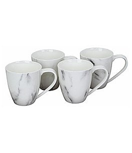 Image of Oneida 4-Piece Moda Couture Marble Porcelain Mug Set