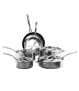 Image of Oneida Tri-Ply Hammered Stainless Steel 10-Piece Cookware Set