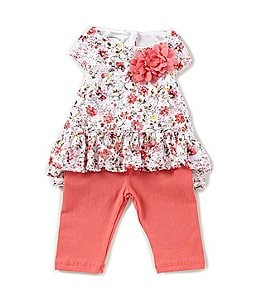 Image of Pastourelle by Pippa & Julie Baby Girls 12-24 Months Floral-Print Ruffle Hem Top & Leggings Set