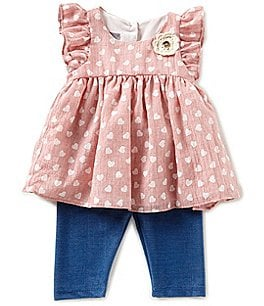 Image of Pastourelle by Pippa & Julie Baby Girls 12-24 Months Heart-Printed Applique Top & Leggings Set