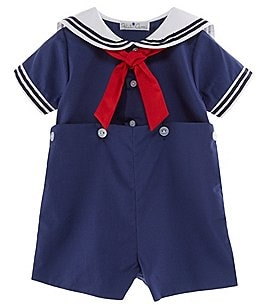 Image of Petit Ami Baby Boys 3-24 Months Sailor Suit Shortall