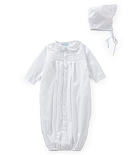 Image of Petit Ami Baby Boys Newborn Smocked Gown & Hat Set