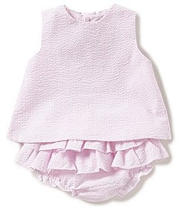 Image of Petit Ami Baby Girls 3-24 Months Bow-Back Seersucker Dress
