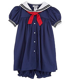 Image of Petit Ami Baby Girls 3-24 Months Nautical Sailor Dress