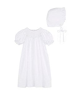 Image of Petit Ami Baby Girls Newborn-3 Months Smocked Gown & Bonnet Set