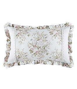 Image of Piper & Wright Haley Lace-Trimmed Floral & Striped Boudoir Pillow