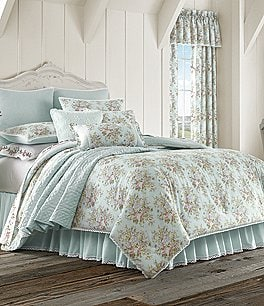 Image of Piper & Wright Haley Lace-Trimmed Floral & Striped Comforter Set