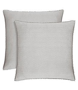 Image of Piper & Wright Sabrina Ball-Trimmed Striped Euro Sham