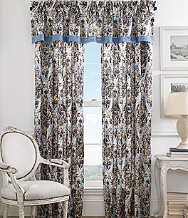 Image of Piper & Wright Santorini Chambray-Trimmed Distressed Damask Window Treatments